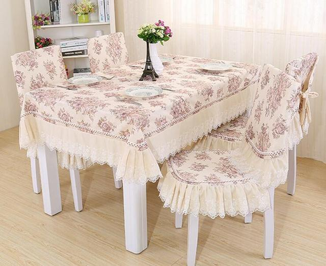 Lace Floral Photo Printing Tablecloth Set Suit 130*180cm Table Cloth  Matching Chair Cover 2
