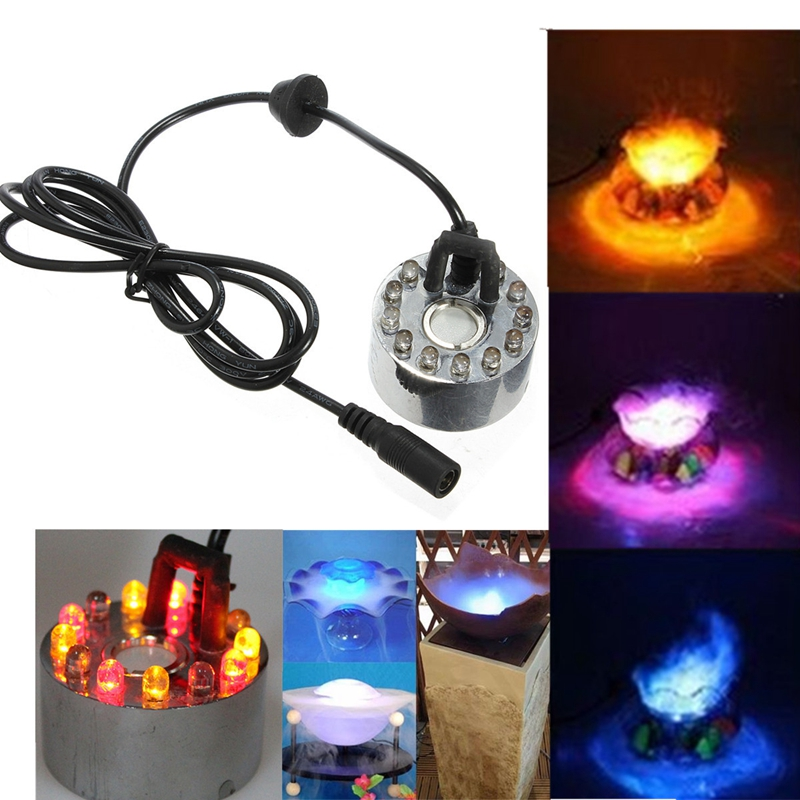 Jiguoor 12 LED Colorful Light Ultrasonic Mist Maker Fogger Purify Water Fountain Pond Mist Machine