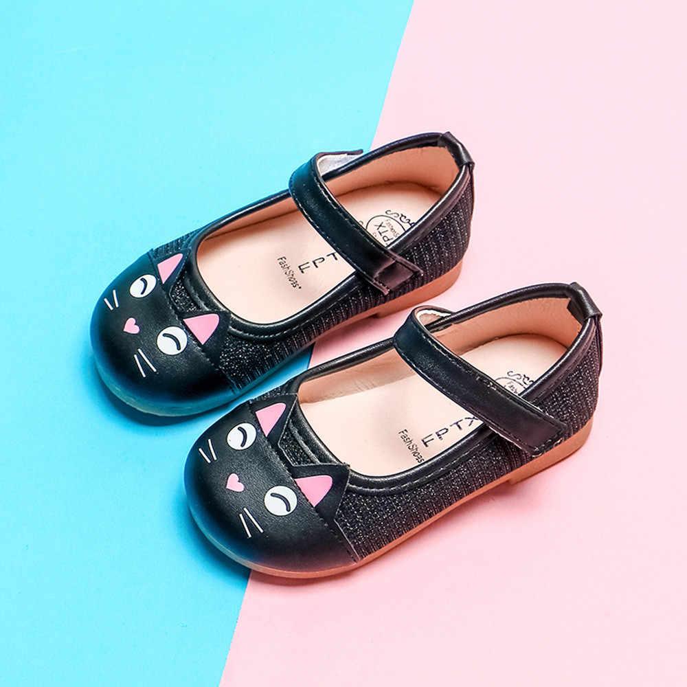 طفل الفتيات أحذية طفل رضيع الاطفال أنيقة القط واحدة الأميرة حذاء كاجوال الأطفال أحذية من الجلد للفتيات