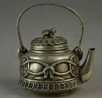Old Handwork Chinese Miao Silver Carving Coins & Frog Lid Wealth Good Lucky Tea Pot Water Pot Tea Set