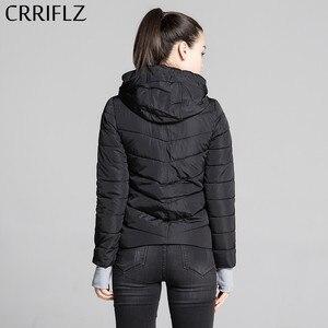 Image 3 - CRRIFLZ ฤดูใบไม้ร่วงฤดูหนาวเสื้อแจ็คเก็ตสั้นผู้หญิง Parkas เสื้อแจ็คเก็ต Hooded Coats หญิง Slim ฝ้ายเบาะแจ็คเก็ตพื้นฐาน