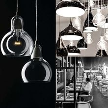 Modern Pendant Light Single Head Hoist Clear Glass Lampshade Chandelier Ceiling Lamp Lighting Fixtures