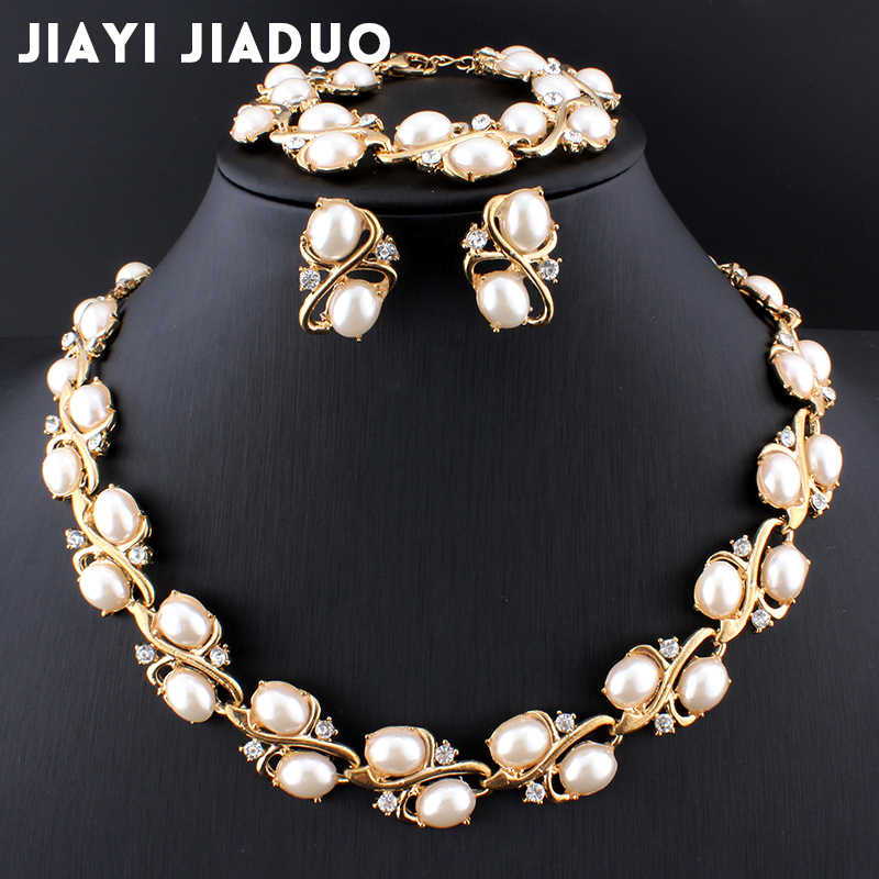 jiayijiaduo Bridal Jewelry Sets for Women Wedding Accessories Gold Color Imitation Pearl 3PS Necklace Earrings Bracelet Box Gift