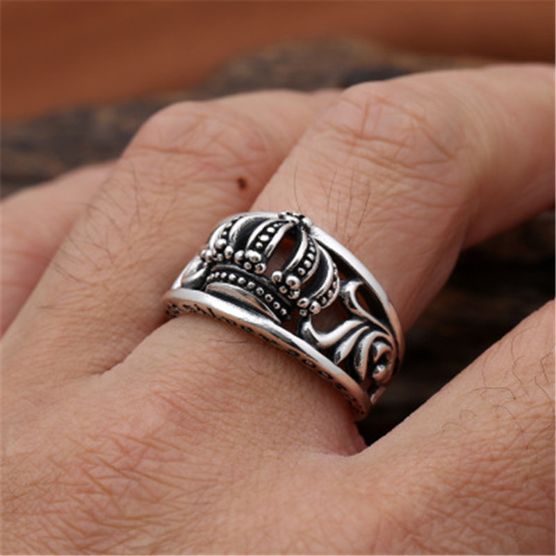 100% Real Silver 925 Crown Mens Rings Vintage Punk Style 100% Real 925 Sterling Silver Cool Fashion Personality Jewelry Men Gift real 100