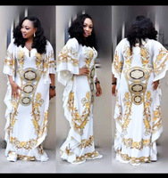 African Dresses for Women Dashiki Print Evening Long Dresses Bazin Riche Women African Clothing White Yellow Robe Wide Dresses