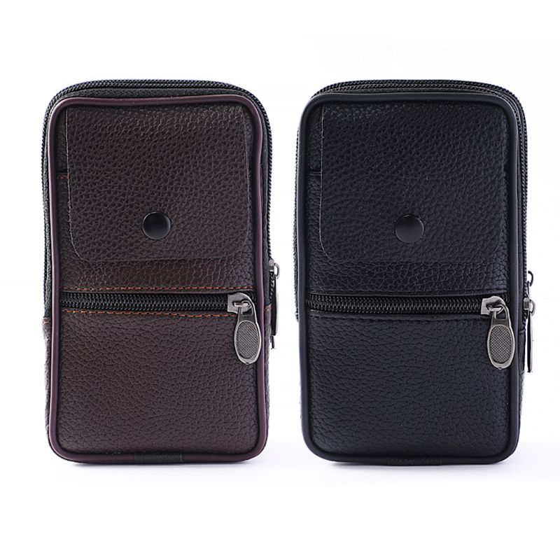 Outdoor Fashion Vertical PU Leather Men Waist Pack Portable Zip Coin Purse Phone Bag Fanny Pack Pocket Mini Belt Waist Bags