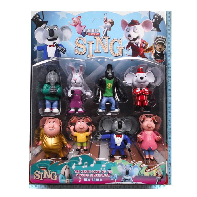 SHINEHENG New Arrival 8PCS/SET Cartoon Movie Sing Action Figure Toys 3-4'' Buster Moon Johnny Dolls barbra streisand encore movie partners sing broadway lp