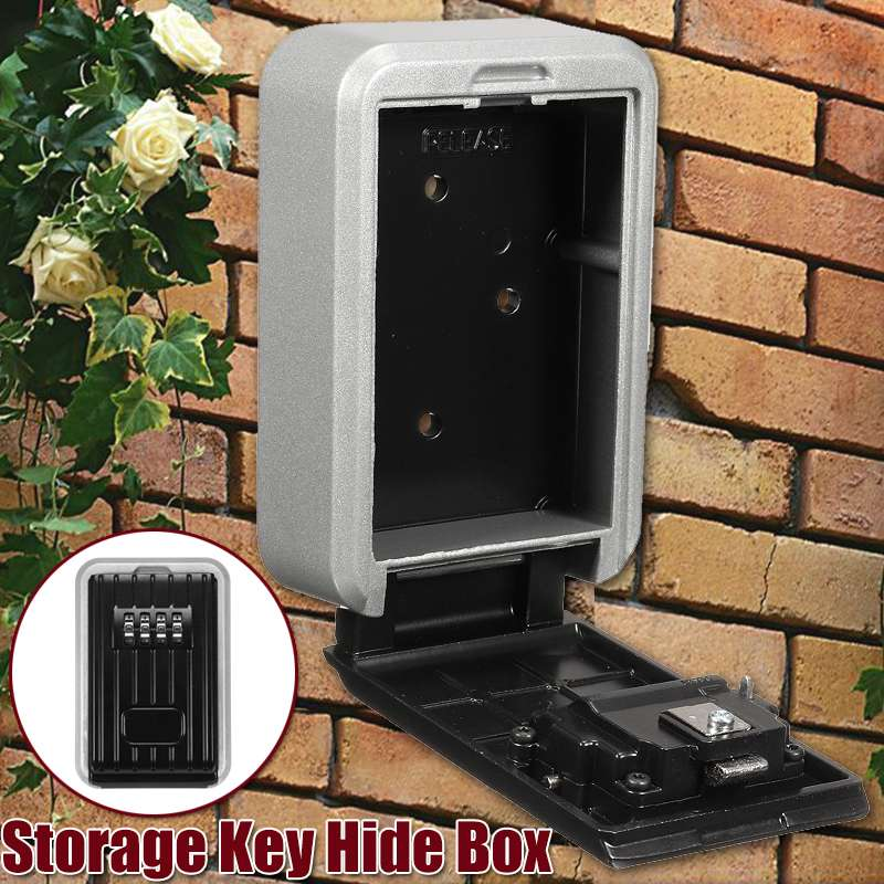 Safurance Key Safe Box Outdoor Key Lock Box Aluminium Wall Mounted Waterproof 4 Digit Combination Password