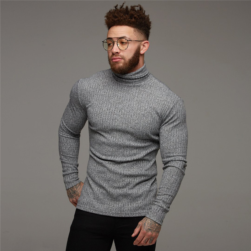 2019 Winter Warm Turtleneck Sweater Men Fashion Solid Stripe Knitted Mens Sweaters Casual Slim Pullover Male Double Collar Tops
