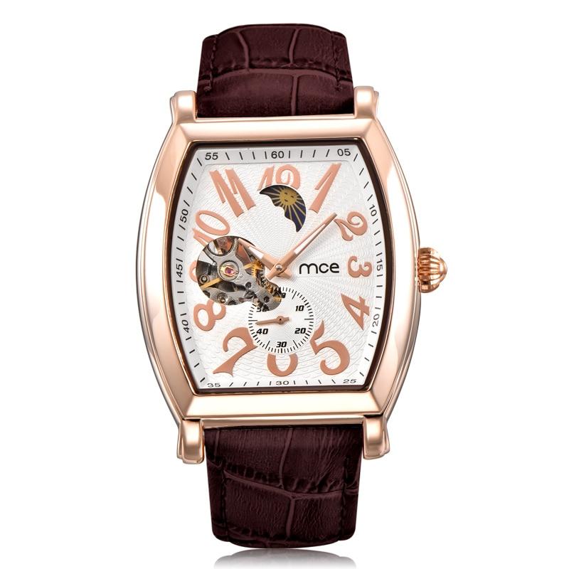 Top Brand MCE Mechanics Self Wind Flying Tourbillon Watches Men Mility Moon Automatic Mechanical Watch Tonneau Man Relojes Mujer