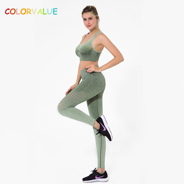 Colorvalue חלול החוצה יוגה ספורט סט נשים Ombre חלק אימון חדר כושר חליפת לנשימה כושר חותלות אפוד-סוג חזיית ספורט