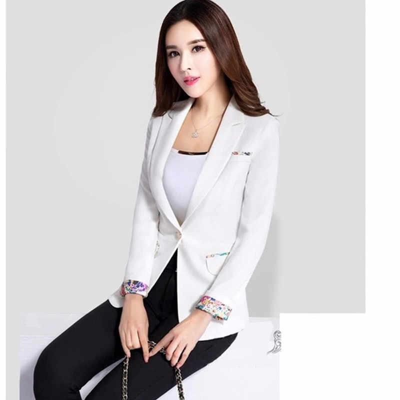 2018新しい春の秋白い小さなブレザーファッションスリムロング袖黒女性ブレザージャケットプラスサイズオフィス女性スーツ5xl