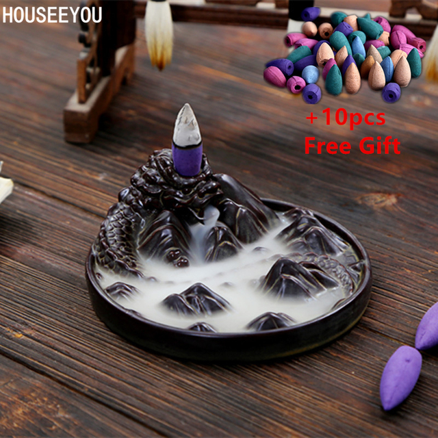 Ceramic Black Dragon Backflow Waterfall Incense Burner Coil Holder Aromatherapy Buddhist Censer Home Decors +10pcs Incense Cones