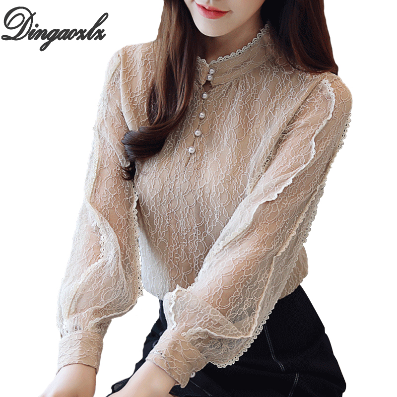 Bright Dingaozlz 2018 Autumn Women Lace Shirt Fashion Long Sleeve Crochet Tops Casual Hollow Out Ol Chiffon Blouse Beaded Lady Shirt Relieving Heat And Sunstroke Blouses & Shirts