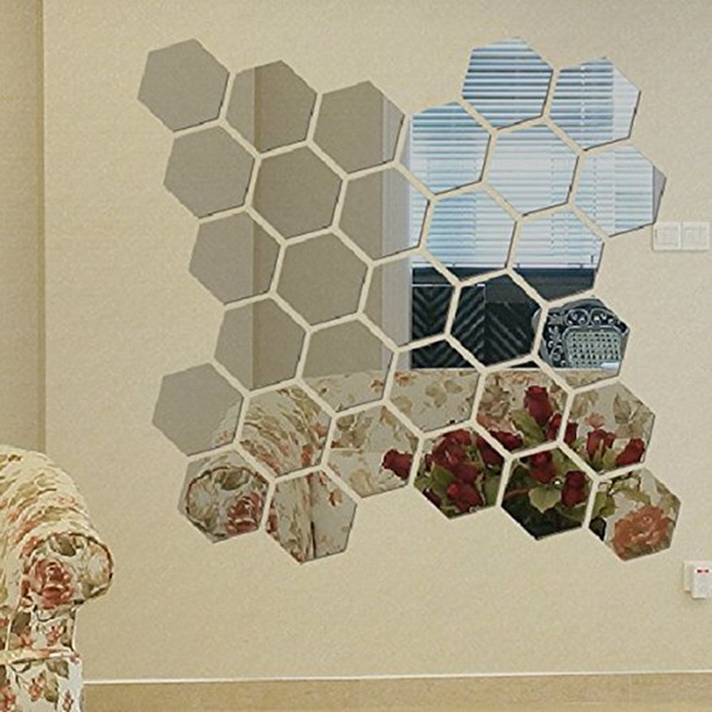 12 Piece Hexagon Acrylic Mirror Wall Stickers DIY Art Wall Decor Wall Stickers Home Decor Living Room Mirrored Decorative Sticke