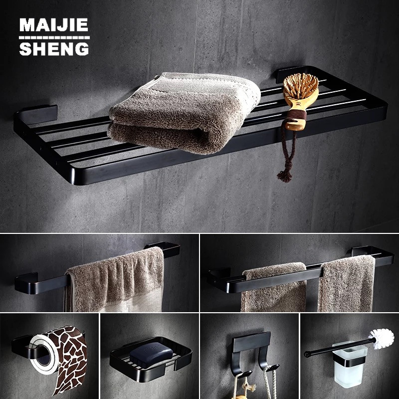 Black style brass bathroom towel shelf black paper holder towel bar and brass cloth hooks soap holder black bathroom accessory luxury european brass bathroom accessories bath shower towel racks shelf towel bar soap dishes paper holder cloth hooks hardware page 1