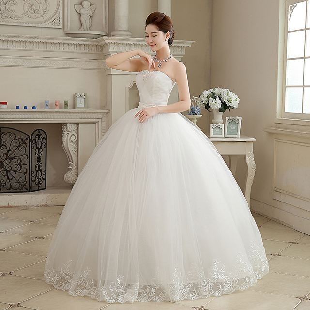 Plus size Strapless Pearls White Princess Wedding Dresses Cheap Bride Frock Vestidos De Novia HS103