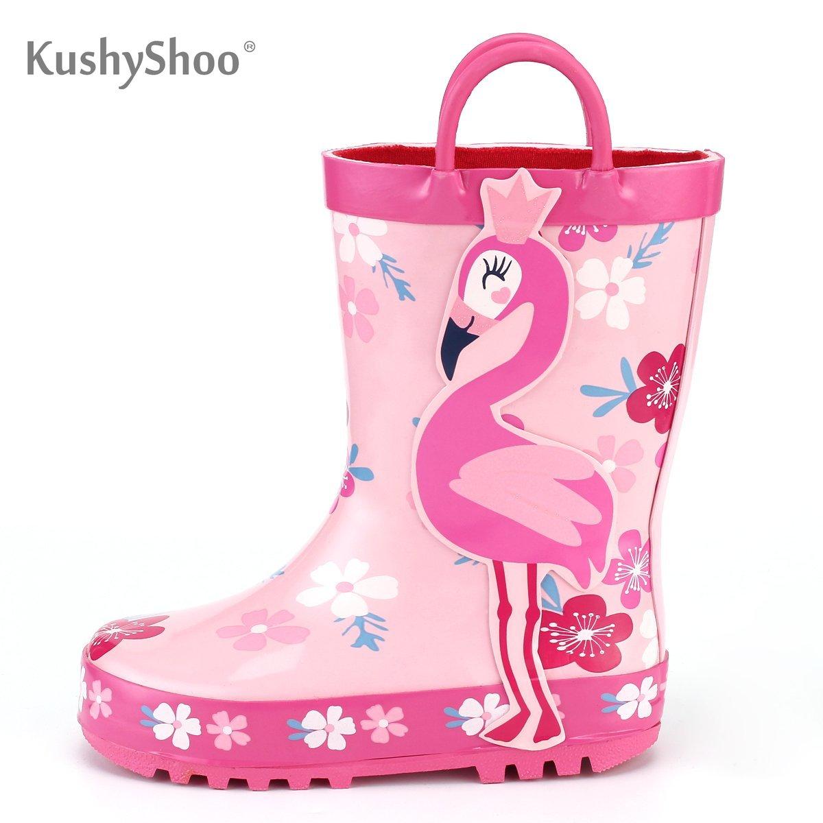 KushyShoo Children's Rubber Boots Outdoor Waterproof 3D Flamingo Printing Rain Boots Kids Toddler Water Boots Kalosze Dla Dzieci