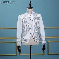 White Sequin Beads Fringed Blazer Jacket Men Brand Stand Collar Embroidery Suit Blazer Male Prom Stage Wedding Blazer Masculino