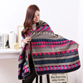 Bohemia Style Shawl Coat Women Autumn Hooded Poncho Wool Blend Ethnic Style Printed Blanket Cloak Cape Coat Women's Poncho Cape