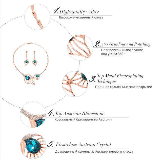 Súprava šperkov MODRÝ KRYŠTÁL Náhrdelník Náušnice Jewelry Set BLUE CRYSTAL