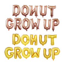 16 Donut Grow Up Foil Balloons Gold Glitter Party Letter Banner baby girl shower Bunting theme birthday Decorations