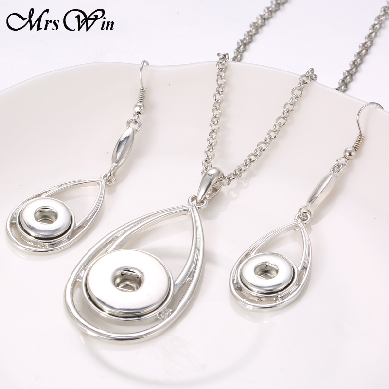 Snap Jewelry Water Drop 18MM Snap Necklace & 12MM Snap For Women Girls Mrs Win Snap Button Necklace