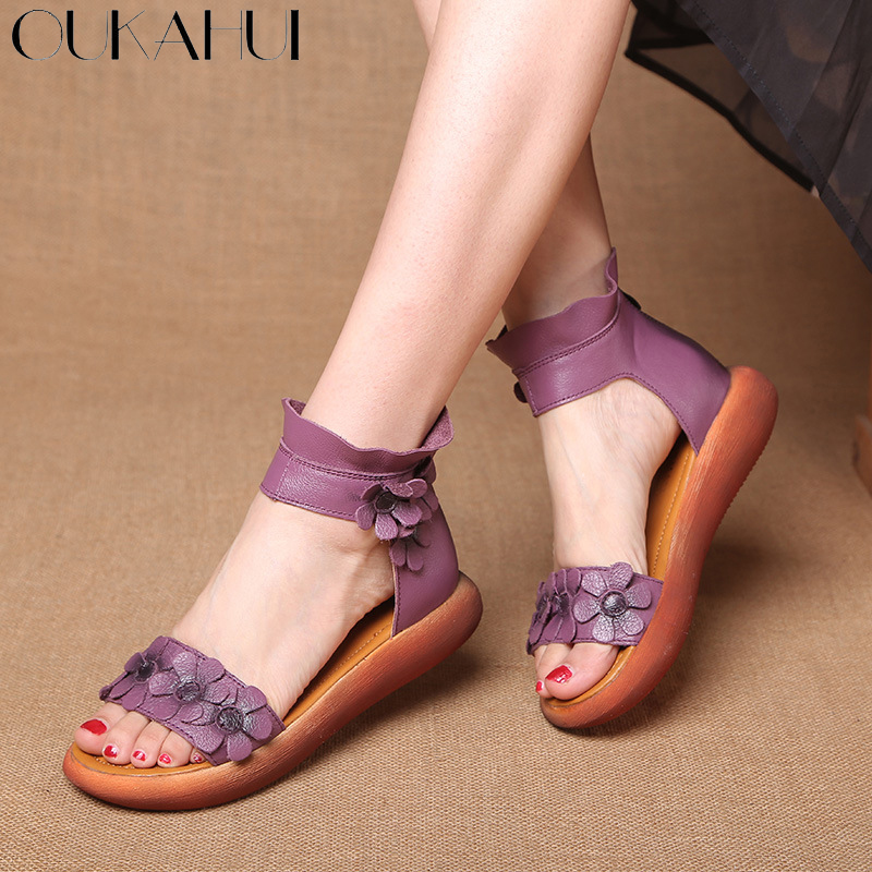 OUKAHUI High Quality Fashion Flat Gladiator Sandals Women Genuine Leather High Top Ankle Wrap With Flowers