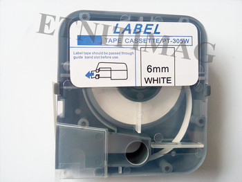 Tape Cassette Label 6mmx8m White LM-PT306W For Electronic Lettering Machine Cable marker ID Printer LM-390,LM-380,LM-370,LM-400 label