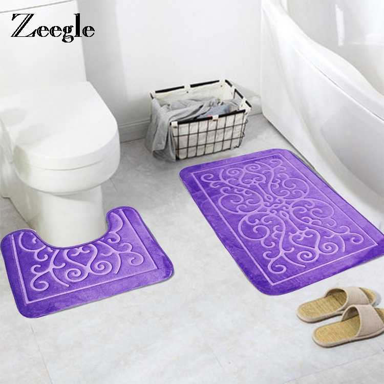 Incredible Zeegle 3D Printing Toilet Seat Covers Mats 2Pcs Warmer Soft Bathroom Carpet Set Non Slip Floor Mats Toilet Bath Mat Accessories Bralicious Painted Fabric Chair Ideas Braliciousco