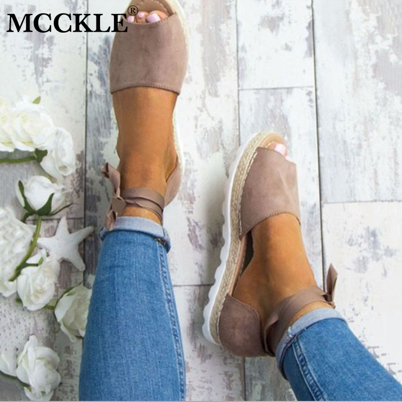 MCCKLE Plus Size 34-43 Flat Sandals Summer Women Casual Platform Shoes Peep Toe Ankle Strap Straw Cross Tied For Woman plus size 34 43 new summer shoes woman open toe women ankle strap wedges sandals casual low heel sandals women sandals