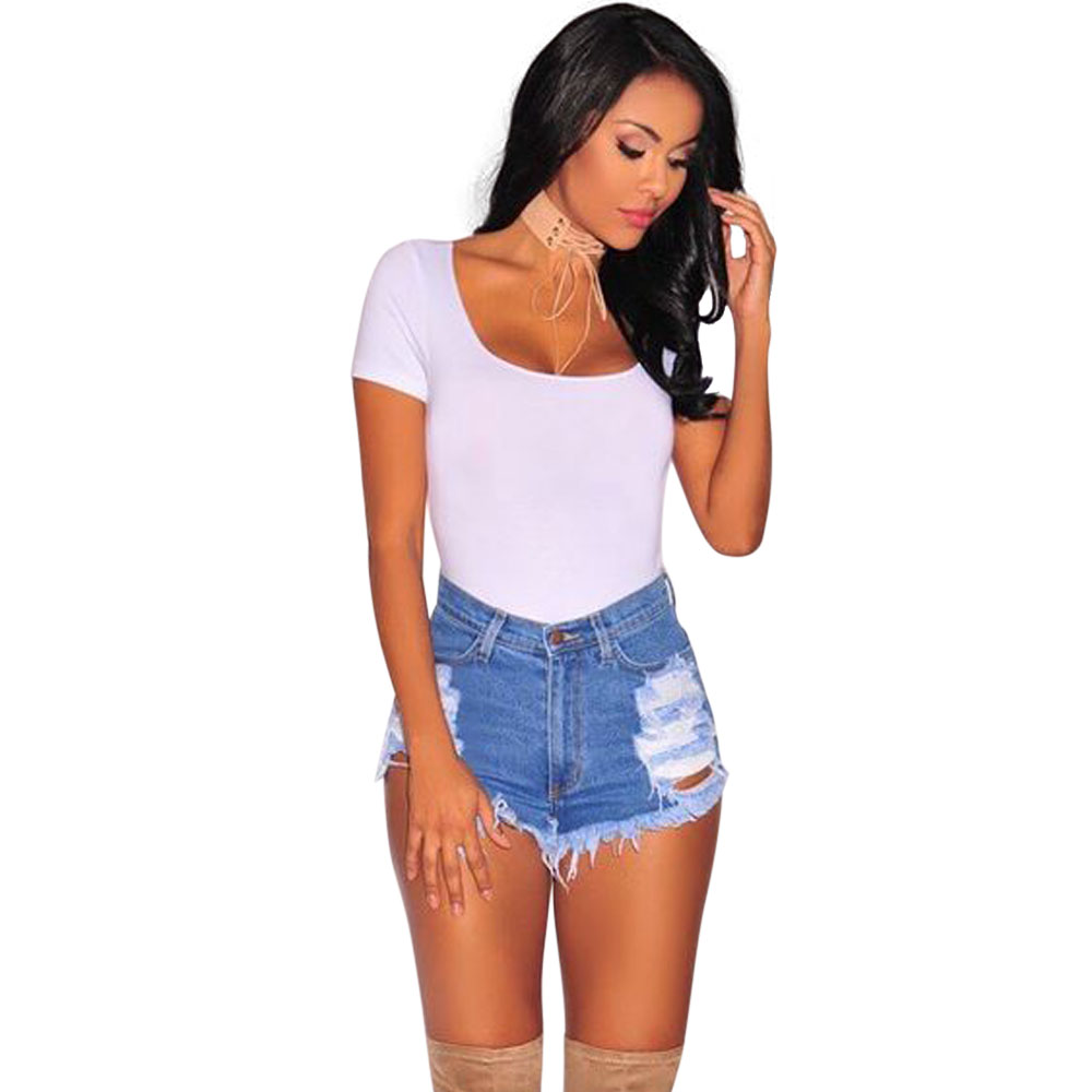 Wendywu Fashionable Casual Mid Waist Tassel Ripped Blue Denim Bodycon Short Jeans with Holes