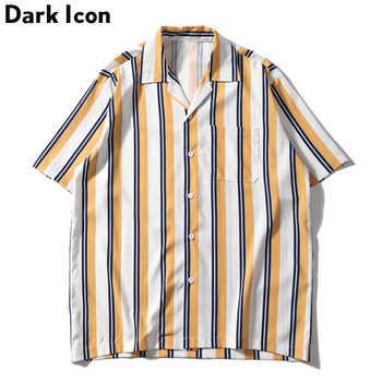 Dark Icon Striped Front Pocket Vintage Shirts Men Retro Street Men\'s Shirts 2019 Summer Beach Shirts Men