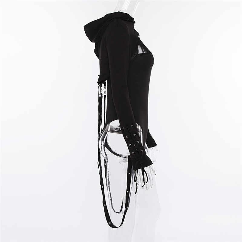26e58a11fa9 ... Черные короткие толстовки женские Крест повязки металла пуловер с капюшоном  Кофты Пастель Готический Мода гот красота ...