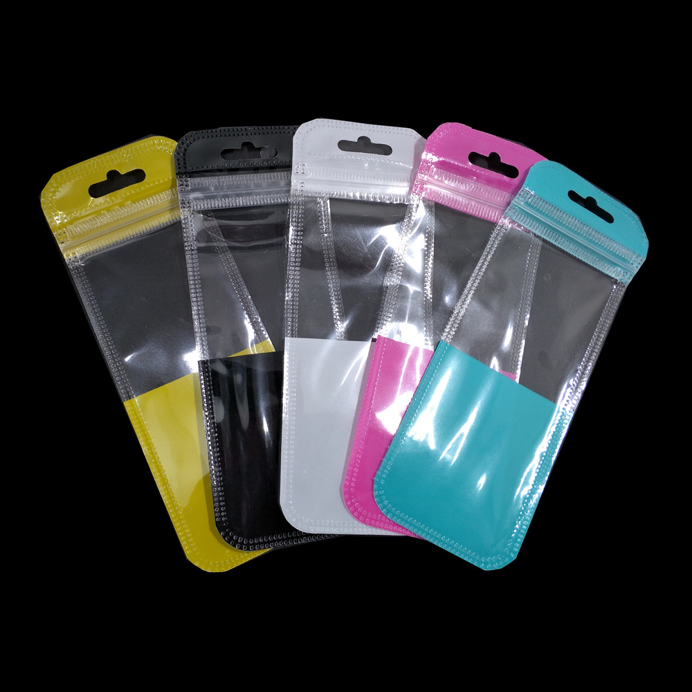 100PCS Colorful Self Sealable ziplock Bag Hang Hole Electronic Products Accessories Storage Bag Clear Window Package Bag 4 Sizes