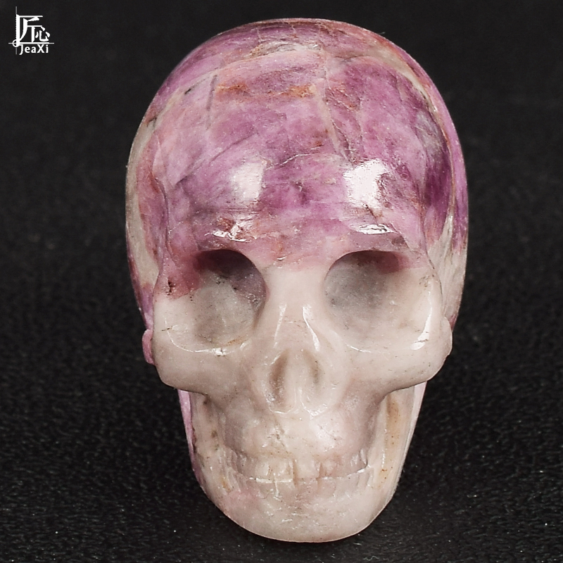 1 Pic 2 Inch Natural Lepidolite Crystal Skull Handmade Mineral And Crystal Healing Home Decor Statues Sculptures Crafts Gifts