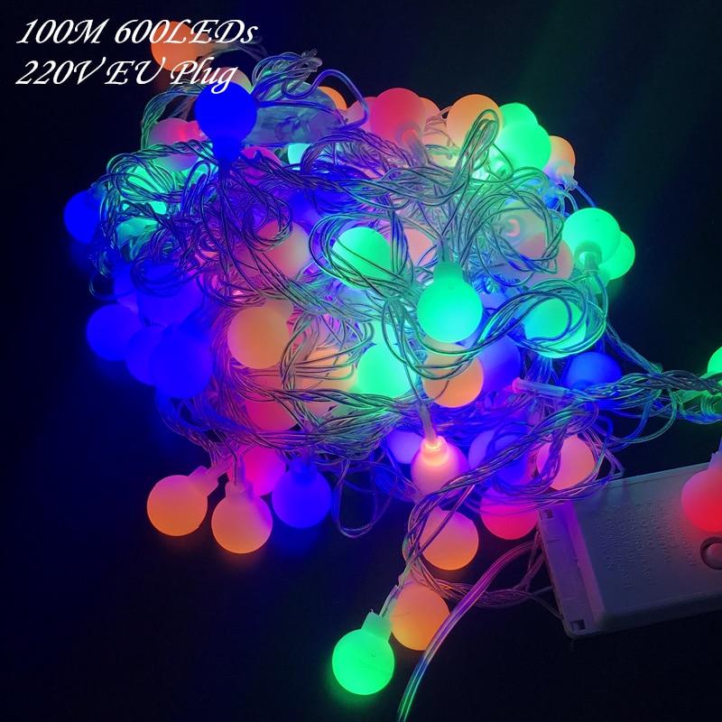 OLOEY 100 M 600 LEDs 220 V IP44 Outdoor Mehrfarbige LED String Lichter Weihnachten Lichter Urlaub Hochzeit party dekoration Luces LED