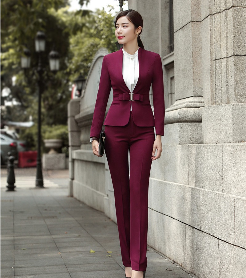 Fashion Wine Formal Uniforms Designs Professional Pantsuits With Jackets And Pants For Ladies Office Work Wear Blazers Sets 19