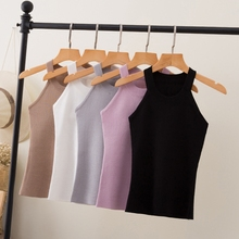 Летние женские тонкие трикотажные топы с бретельками на бретельках, женские облегающие трикотажные майки без рукавов, базовые однотонные футболки 8017