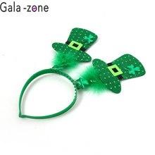 Gala-zona Irlandese St Patricks Day Fascia Verde Hairband Shamrock Fibbia  Accessori Piccolo Cappello di 6b3113af66e1