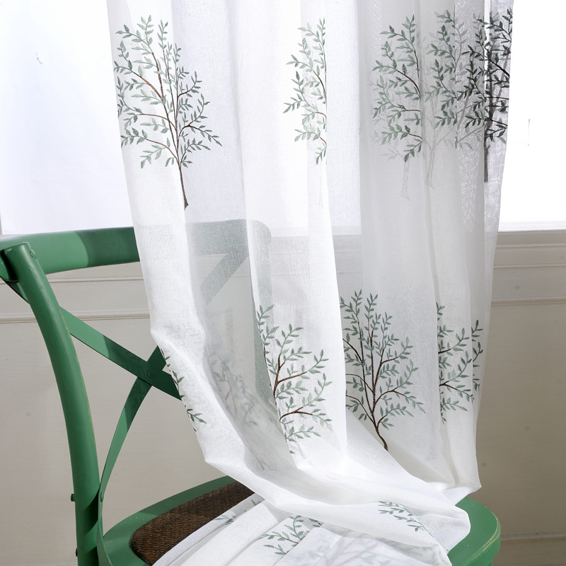 Curtain For Balcony: Embroidery Tree Sheer Tulle Curtains For Living Room