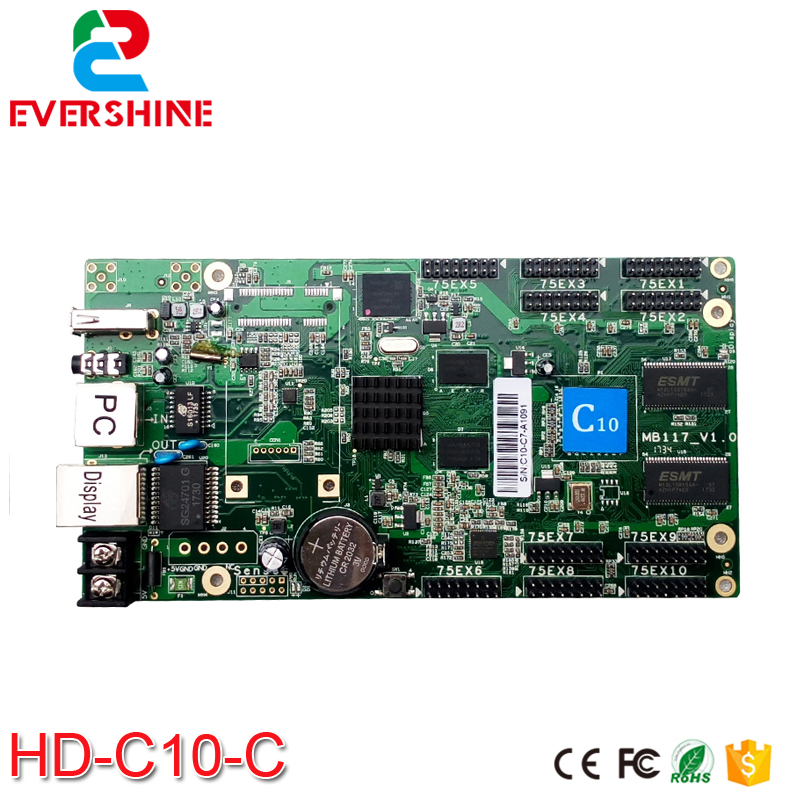 2018 New Design High Cost-effective C10 HD-C10-C Full Color RGB Asynchronous LED Display Controller Card Include 10xHUB75 Port