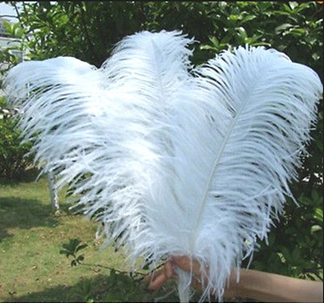 free shipping!10 PCS/lot beautiful White ostrich feather 40-45 cm / 16 to 18 inches Wedd ...
