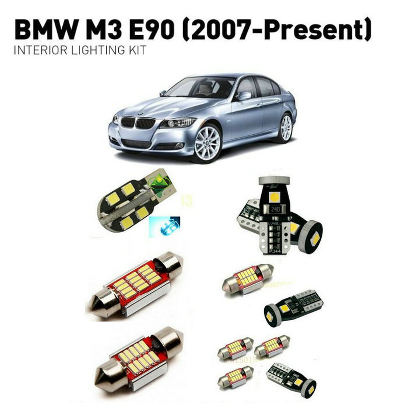 Led interior lights For BMW m3 e90 2007 16pc Led Lights For Cars lighting kit automotive bulbs Canbus Error Free in Signal Lamp from Automobiles Motorcycles