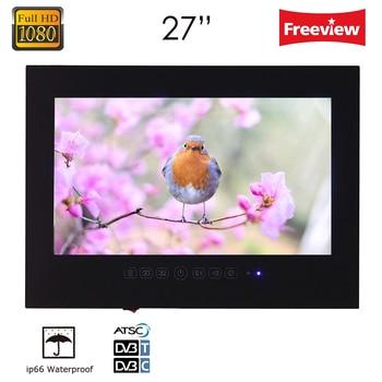 Souria 27' inch Full HD 1080 Waterproof Bathroom LED TV Shower TV IP66 Water-Resistant Display (Black/White)