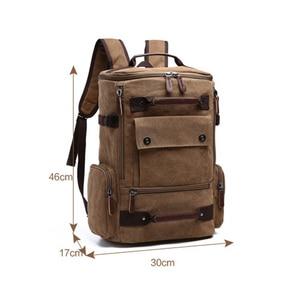 Image 5 - Sac à dos vintage en toile pour homme, grande contenance et haute qualité, idéal pour voyager, servir de cartable ou contenir un ordinateur portable