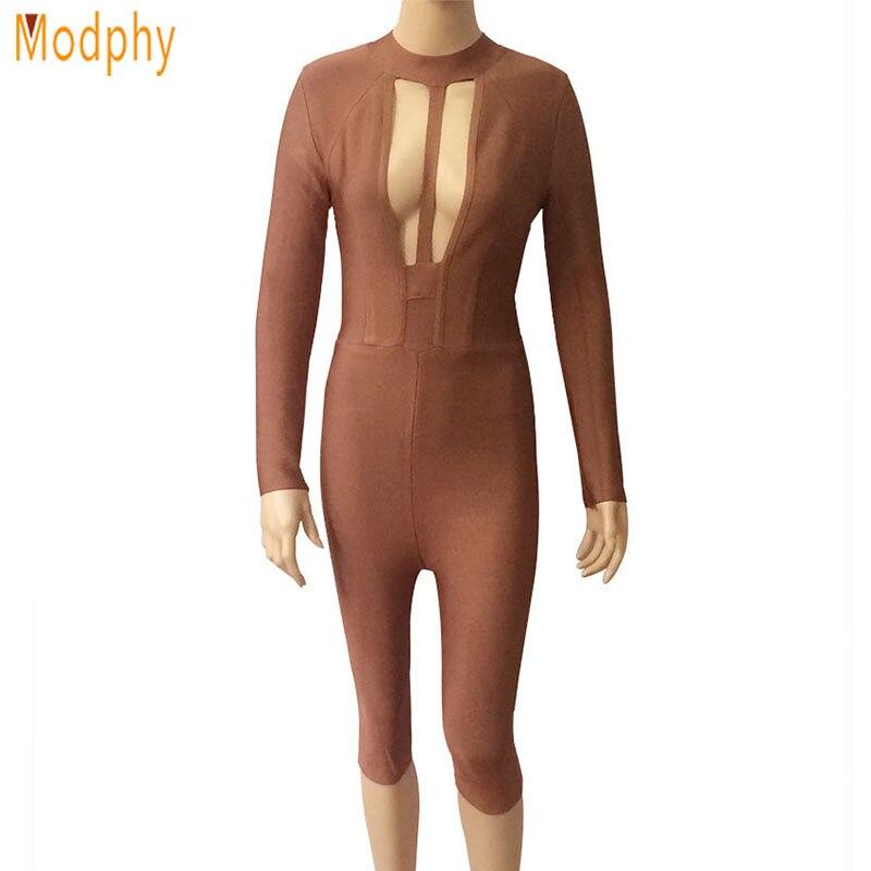 2017 New Autumn Women Sexy Brown Bandage Bodysuit Long Sleeve Knee Length Pencil Pants Lady Evening Party Jumpsuit HL722