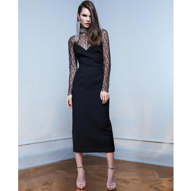 See Through Black Lace Patchwork Y Party Dress Dinner Dresses For Women Rockabilly Beaded Stand Collar