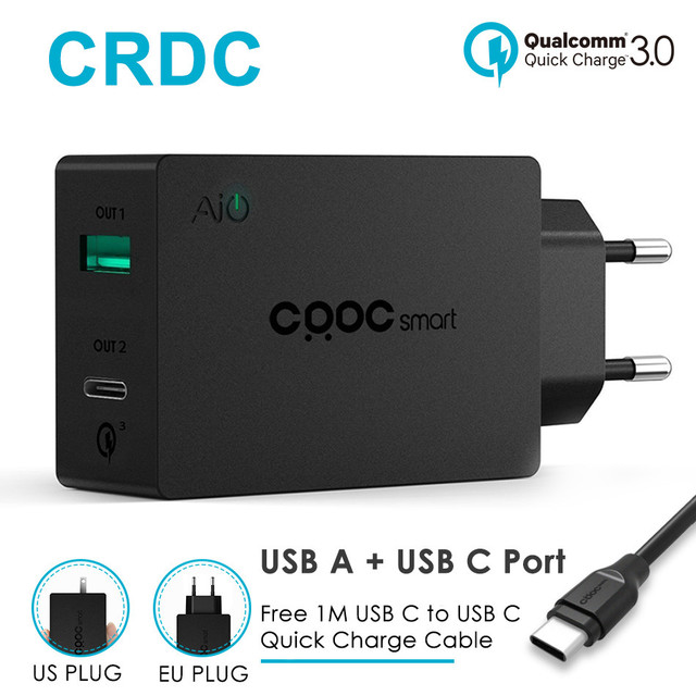 USB c Зарядное устройство, crdc Quick Charge 3.0 5 В/3A 27 Вт Тип c Зарядное устройство для Iphone, xiaomi, Nexus 6 P Nexus 5x, Nintendo переключатель, Google Pixel XL