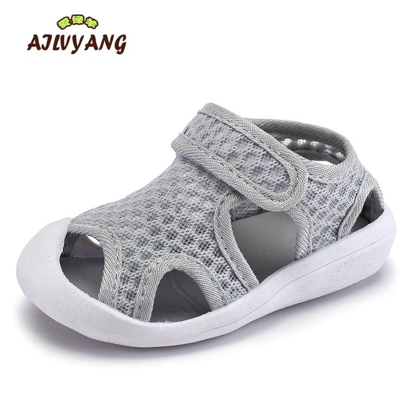 Children Summer Shoes Boys Air Mesh Breathable Sports Sandals Girls Soft Bottom Comfortable Sandals Kids Flats Size 21-30